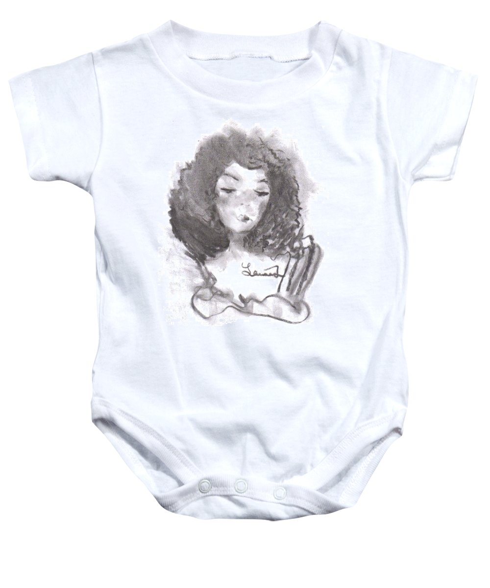 Woman Baby Onesie featuring the drawing Shades Of Yellow by Laurie Lundquist