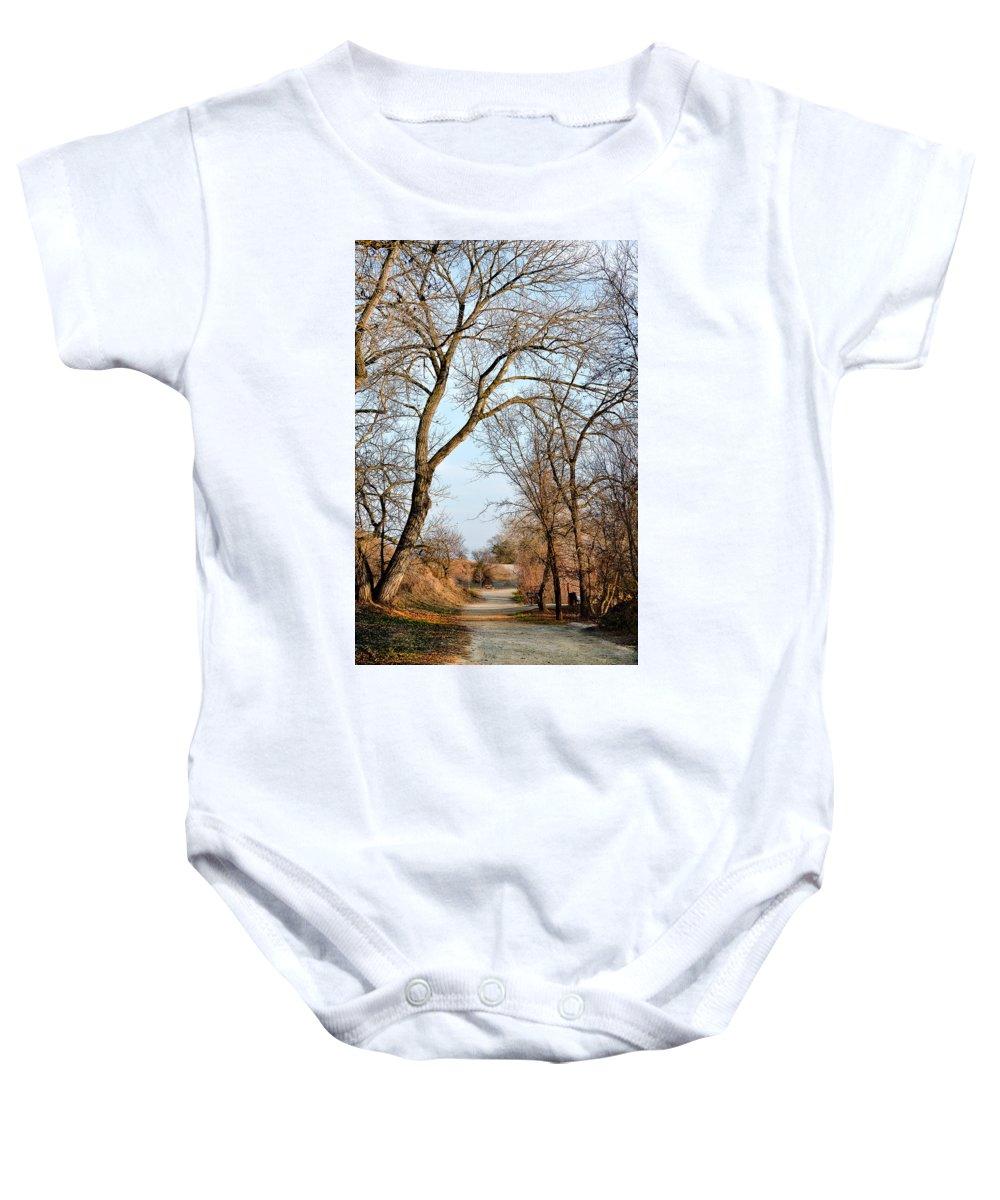 Fairmont Ridge Baby Onesie featuring the photograph Shadow Cliffs by Karen W Meyer