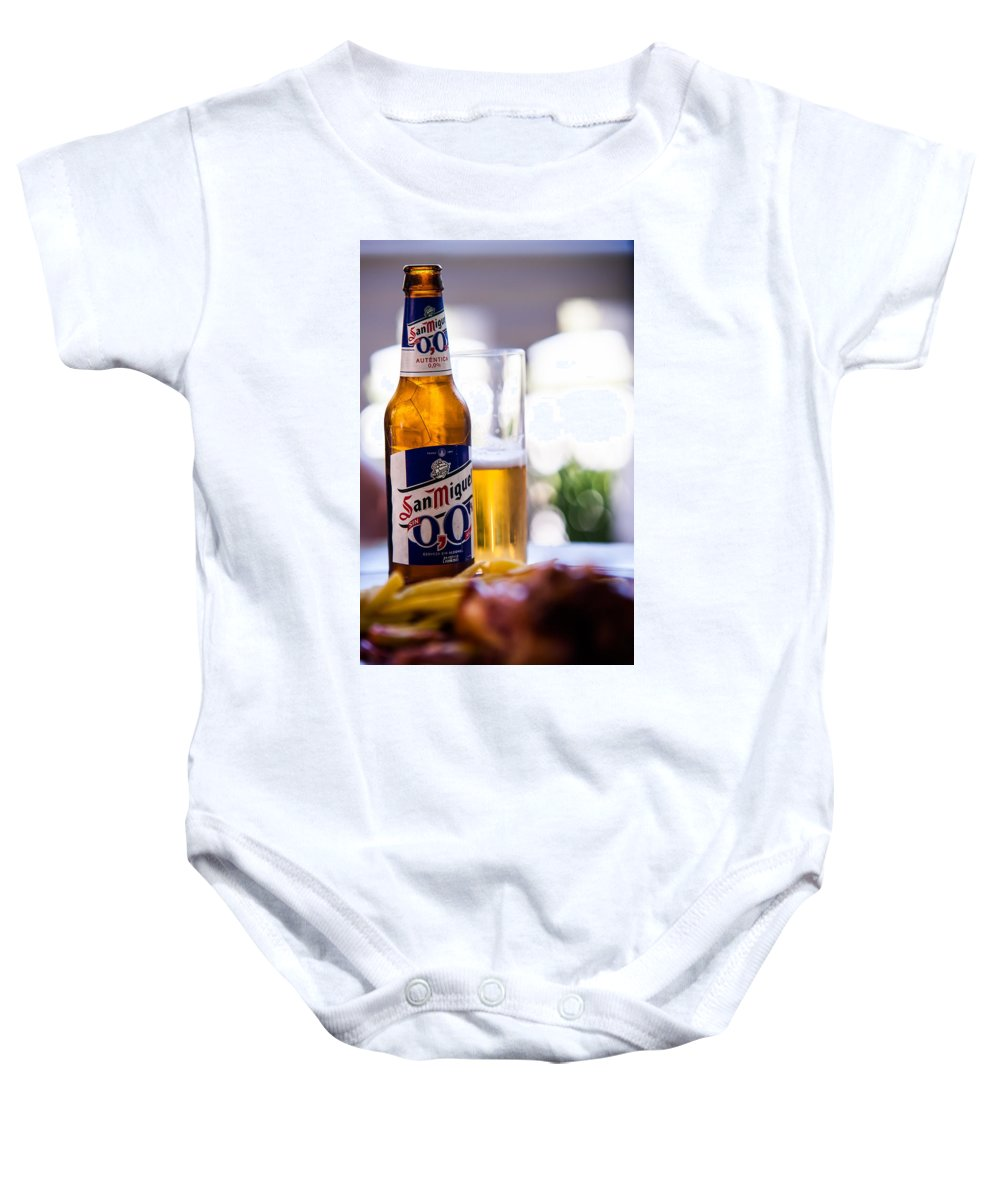 Beer Baby Onesie featuring the photograph Siesta Time I. Beer Sun Miguel by Jenny Rainbow