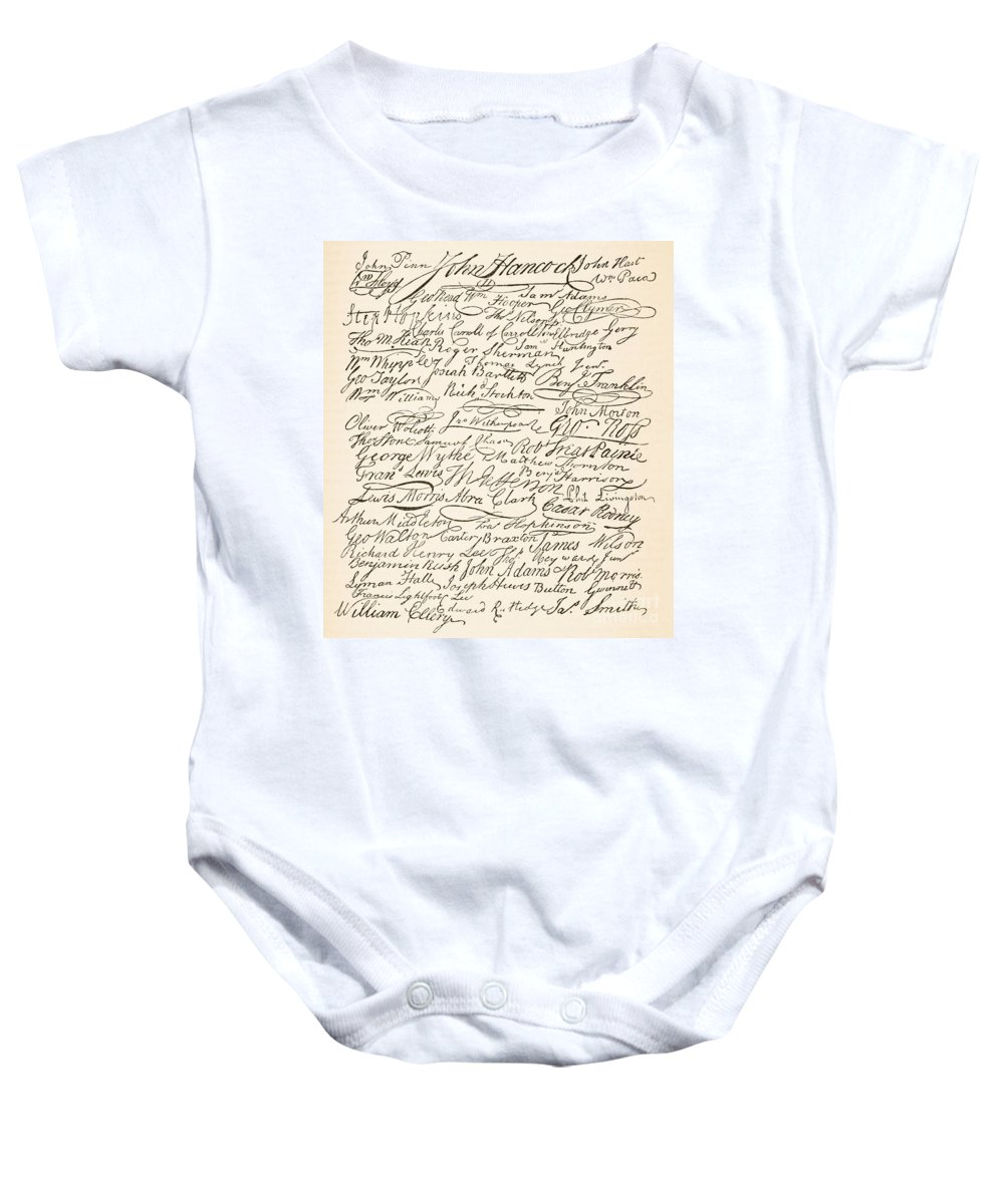 Signatures Attached To The American Declaration Of Independence Of 1776 Baby Onesie featuring the painting Signatures Attached To The American Declaration Of Independence Of 1776 by Founding Fathers