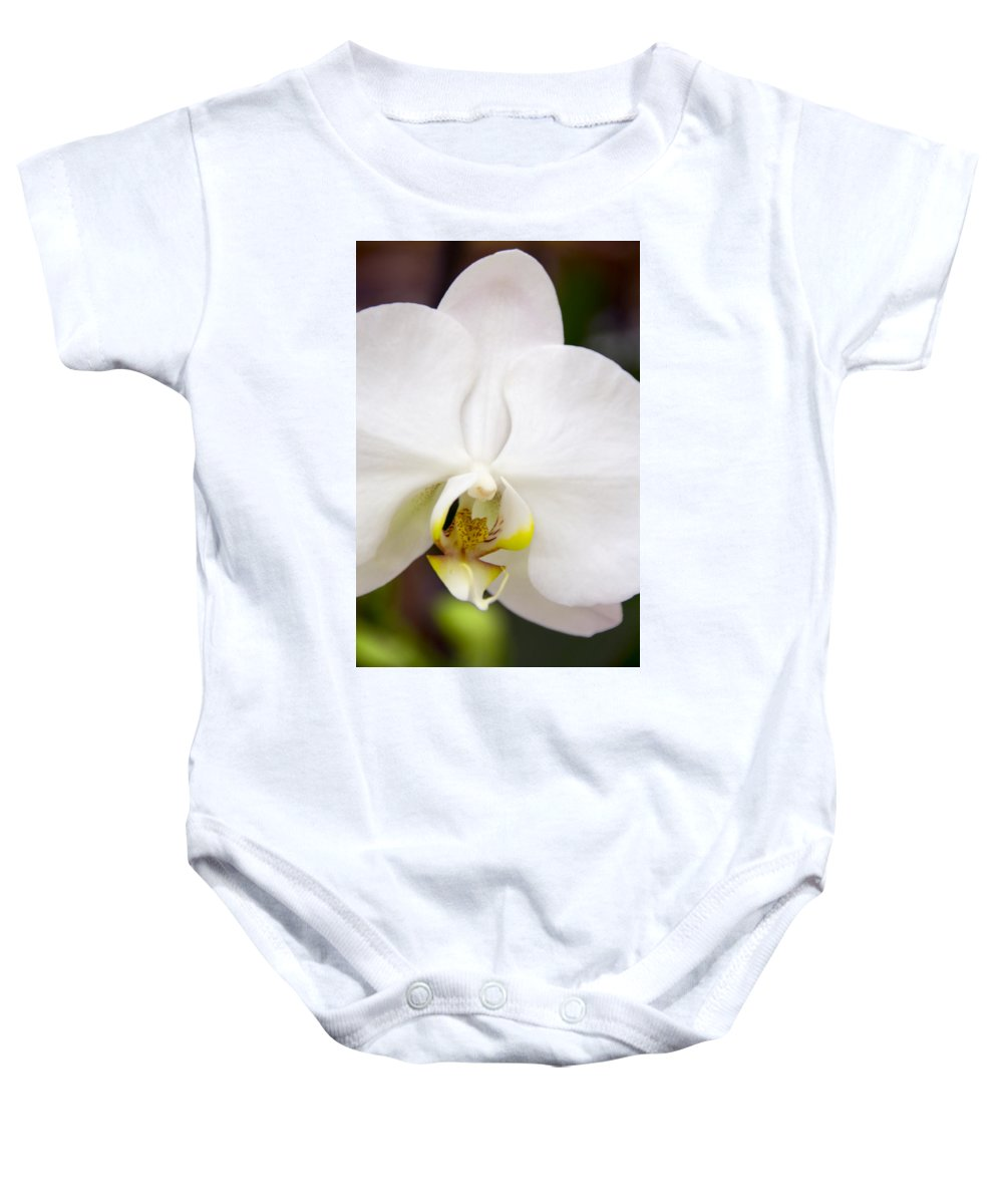 Exotic Baby Onesie featuring the photograph Simply Pure Orchid by Angelina Vick
