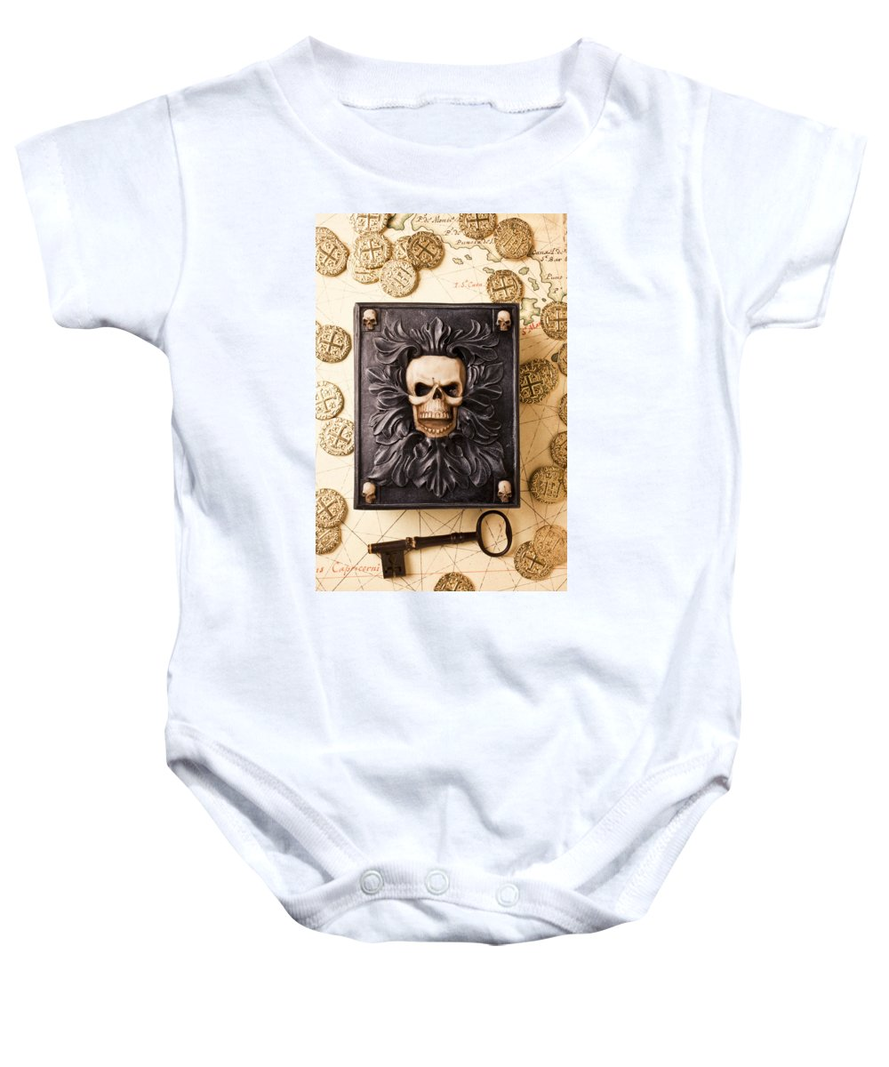 Skull Box Baby Onesie featuring the photograph Skull Box With Skeleton Key by Garry Gay