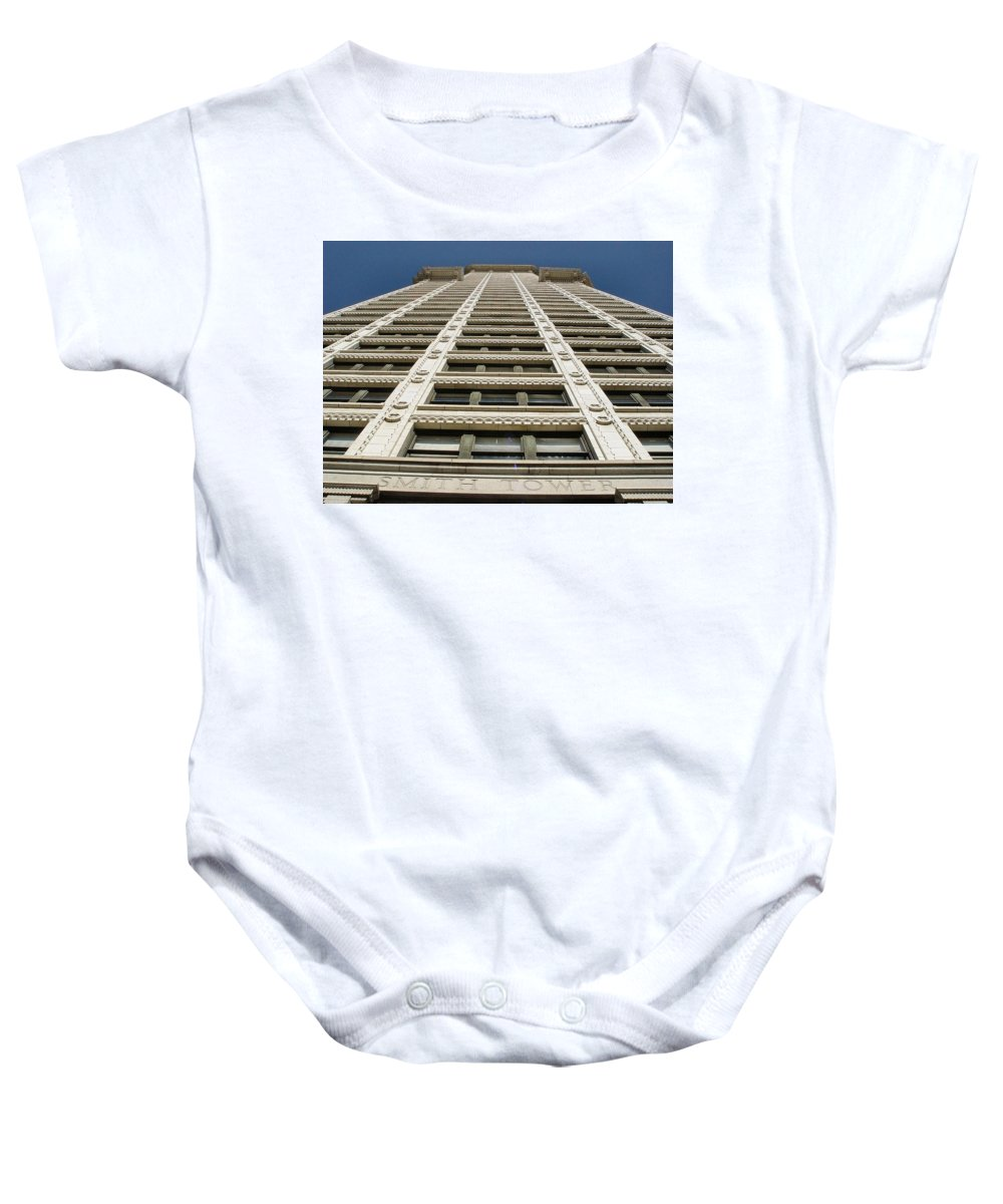 Smith Baby Onesie featuring the photograph Smith Tower by Michael Merry