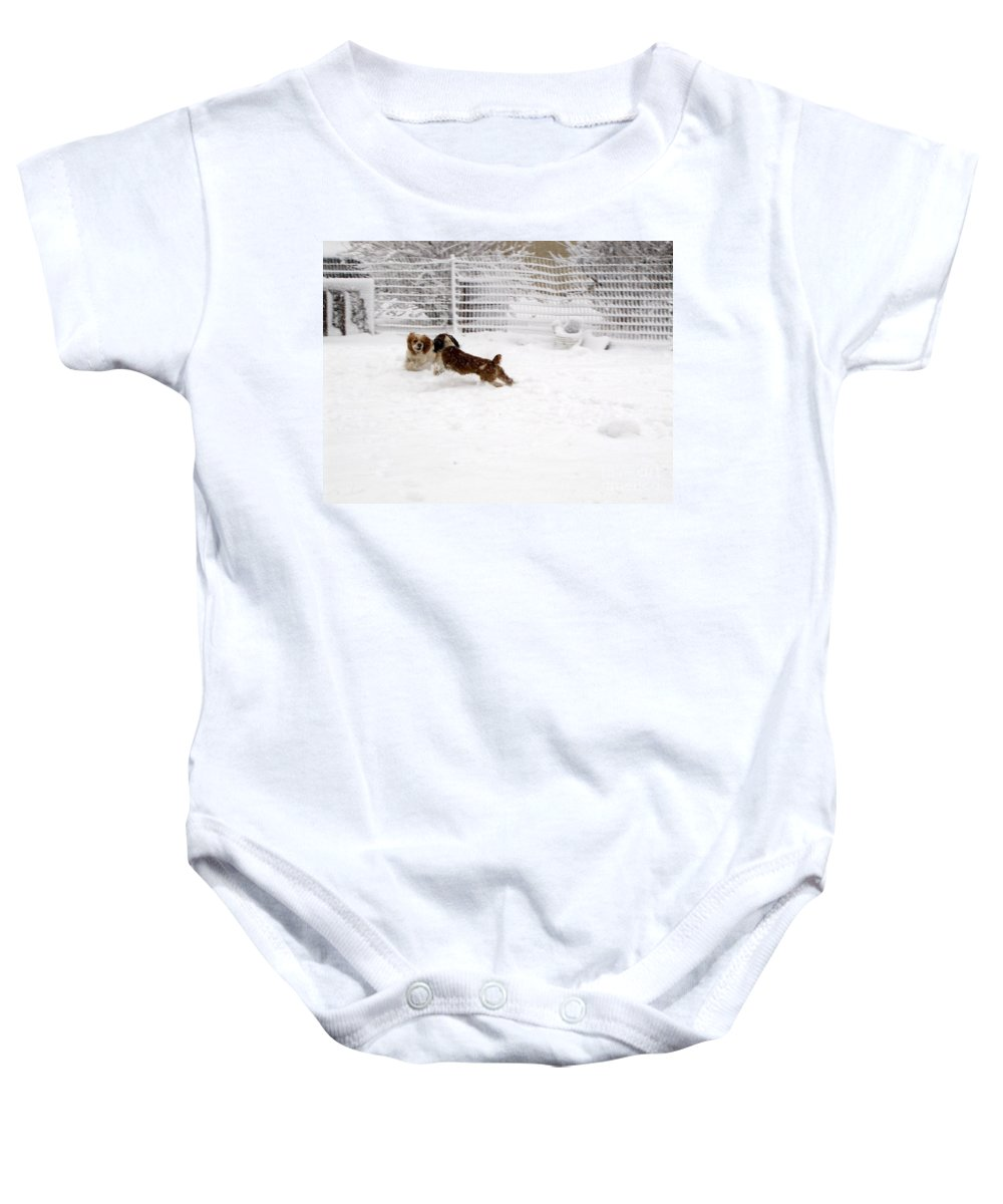 Animals Baby Onesie featuring the photograph Snow Day Play by Debbie Portwood