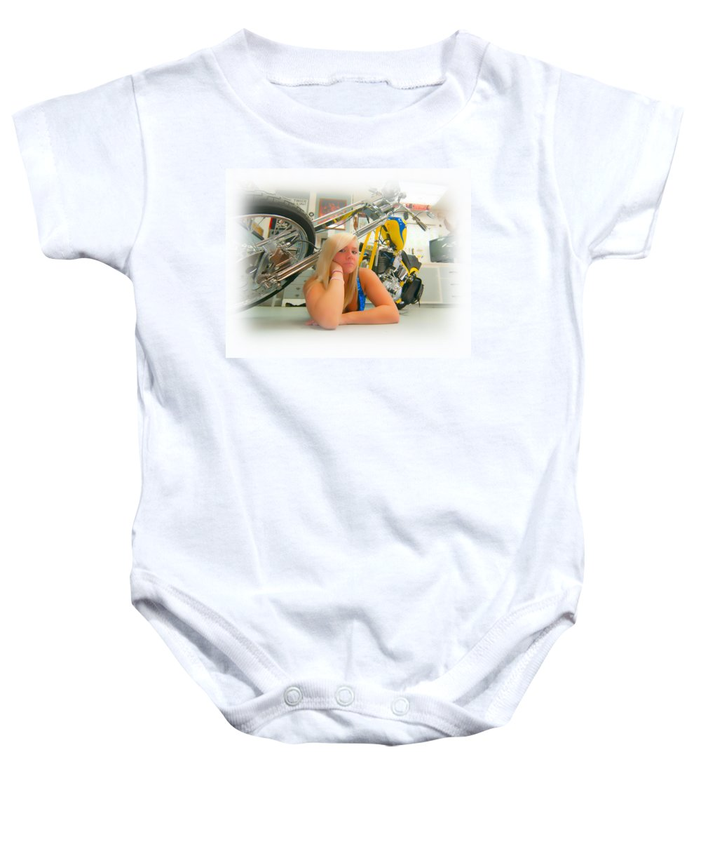 Harley Baby Onesie featuring the photograph Soft N Sweet Harley Chopper by Randall Branham