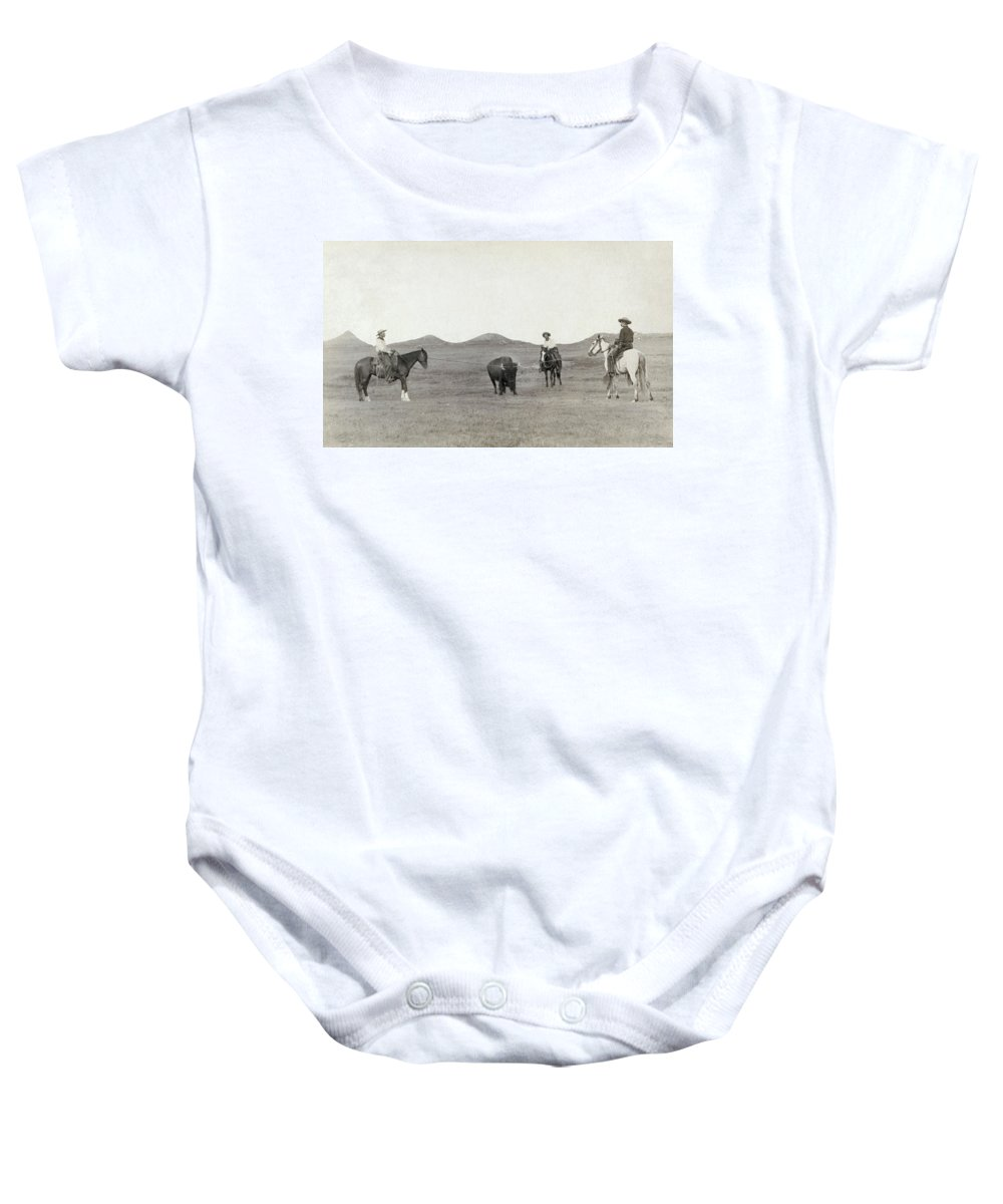 1887 Baby Onesie featuring the photograph South Dakota: Cowboys by Granger