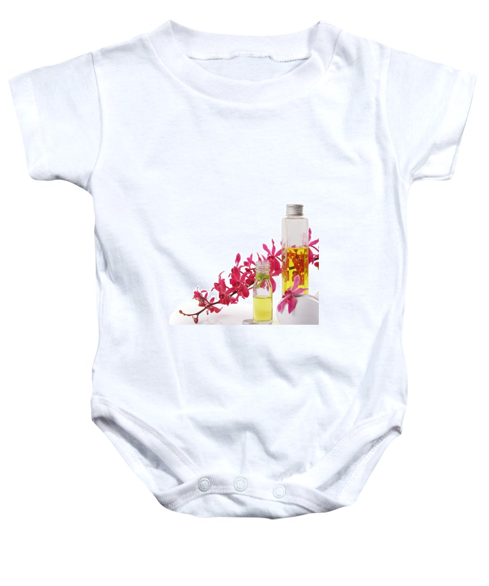 Spa-treatment Baby Onesie featuring the photograph Spa Set With Copy Space by Atiketta Sangasaeng