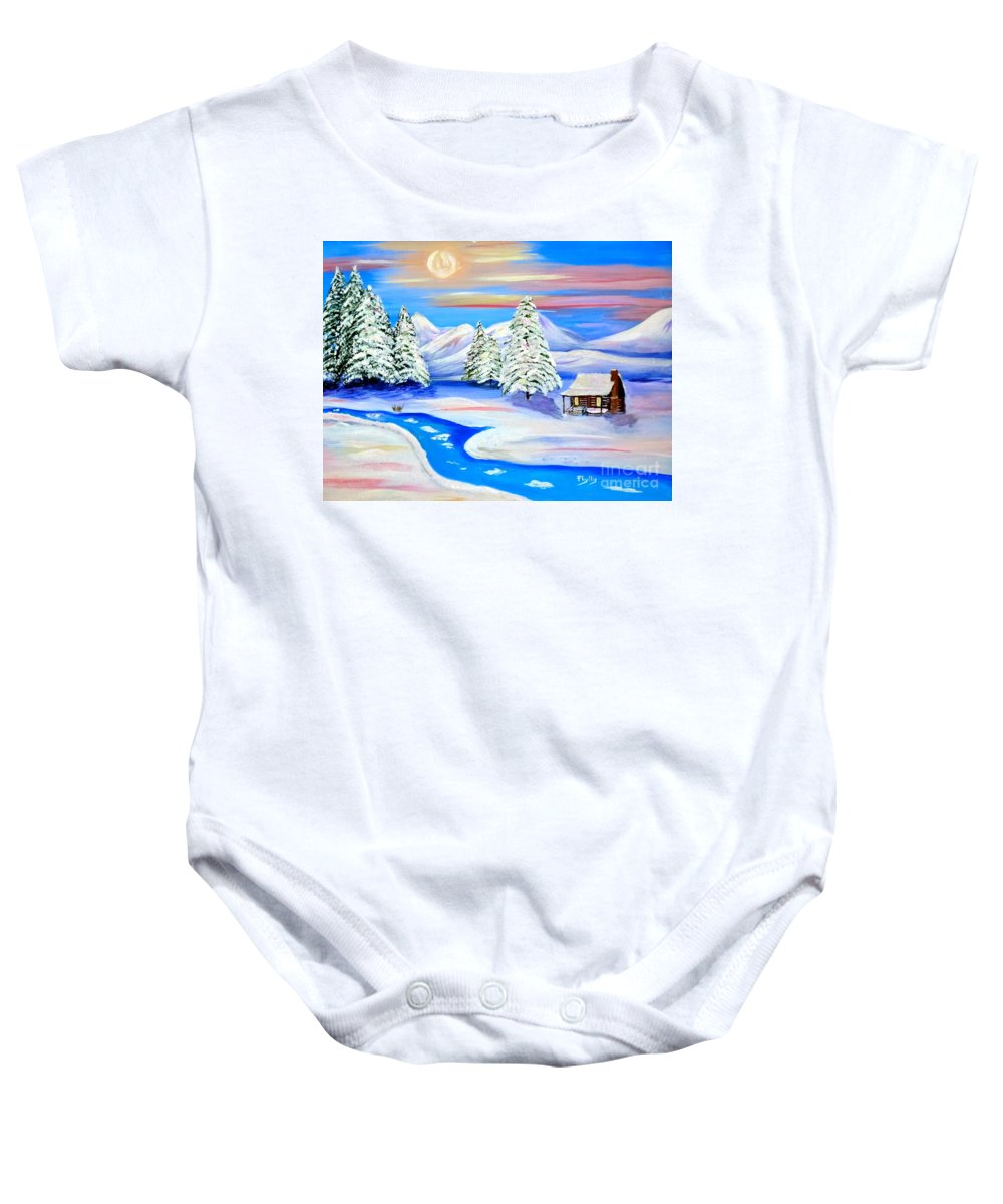 Sun Setting Cabin In The Snow Baby Onesie featuring the painting Sparkling Winter by Phyllis Kaltenbach