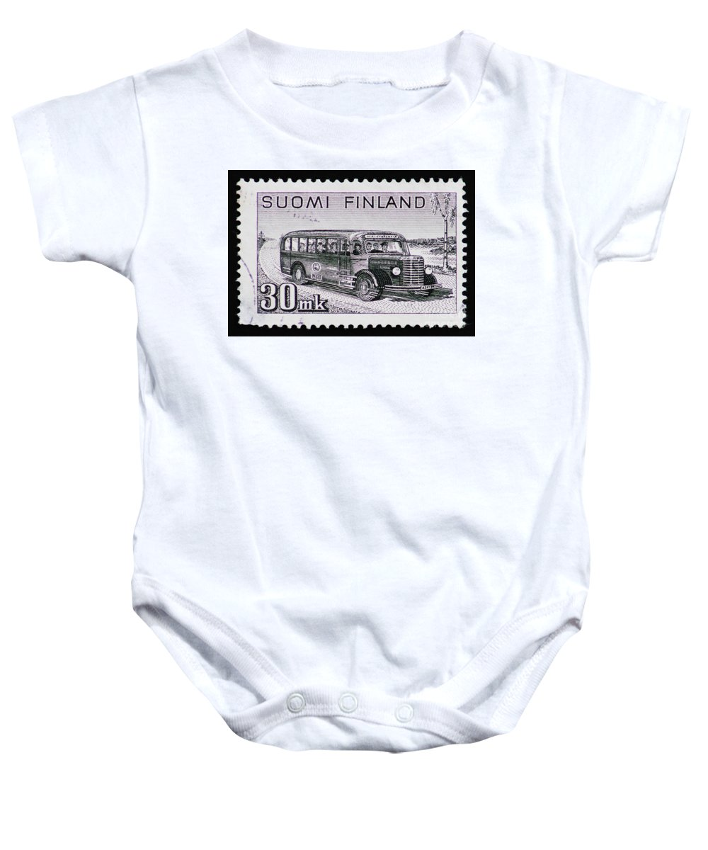 Postage Stamp Baby Onesie featuring the photograph Speedy Old Bus by Andy Prendy