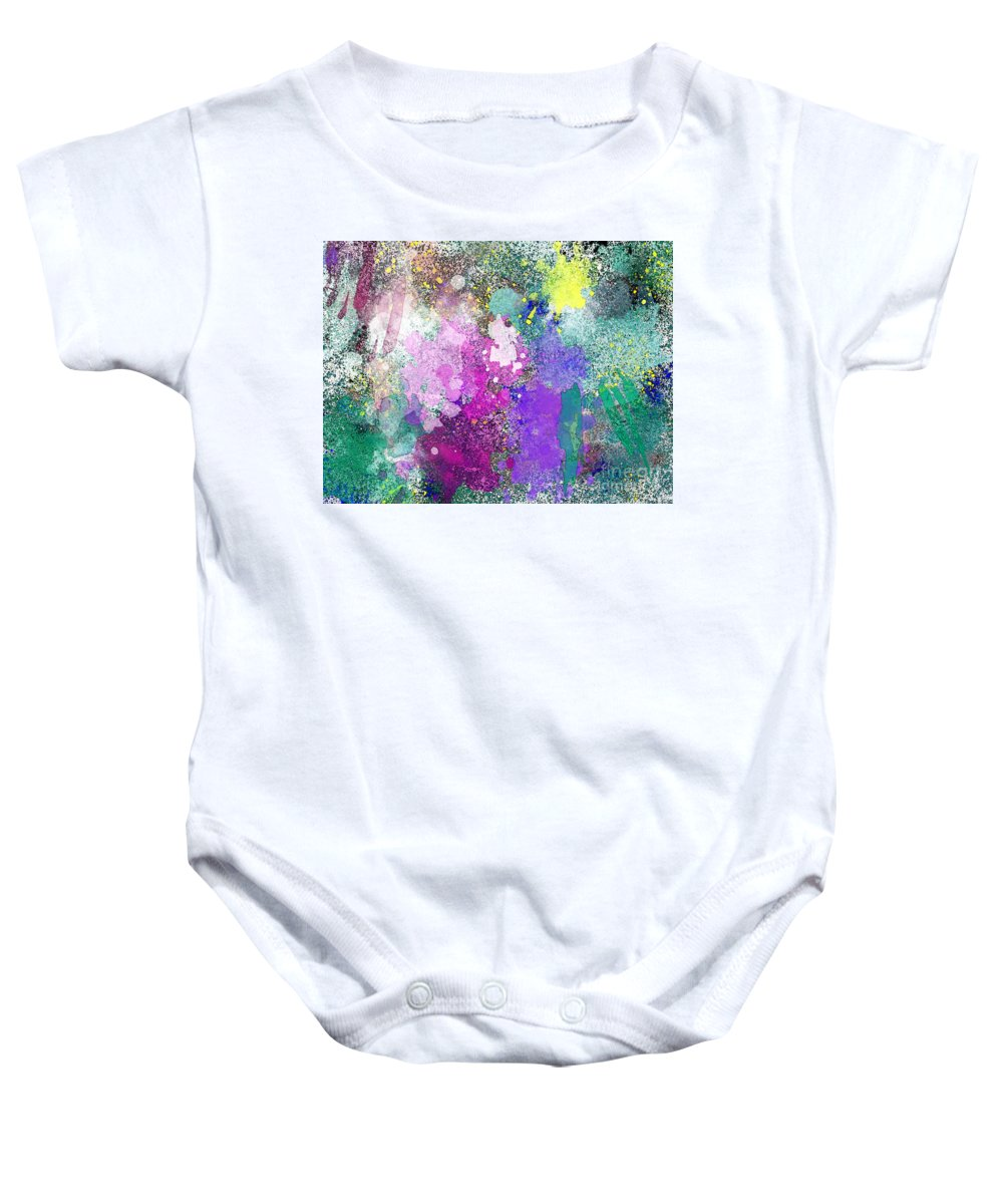 Abstract Baby Onesie featuring the photograph Splattered Colors Abstract by Debbie Portwood