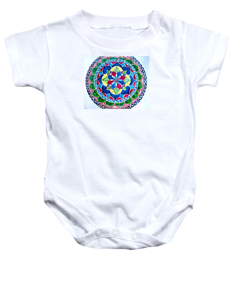 Mandalas Circles Of Life Baby Onesie featuring the painting Spring Mandala by Sandra Lira