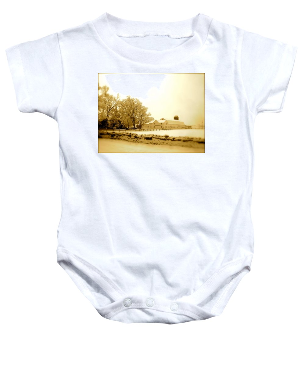 Landscape Baby Onesie featuring the photograph Stone Wall by Arthur Barnes