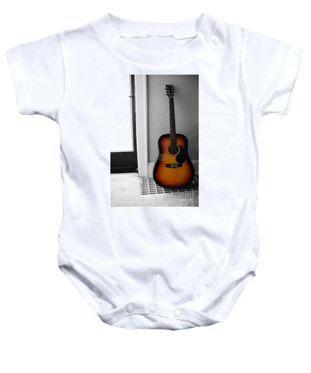 Guitar Baby Onesie featuring the photograph Strings Of Color by Trish Hale