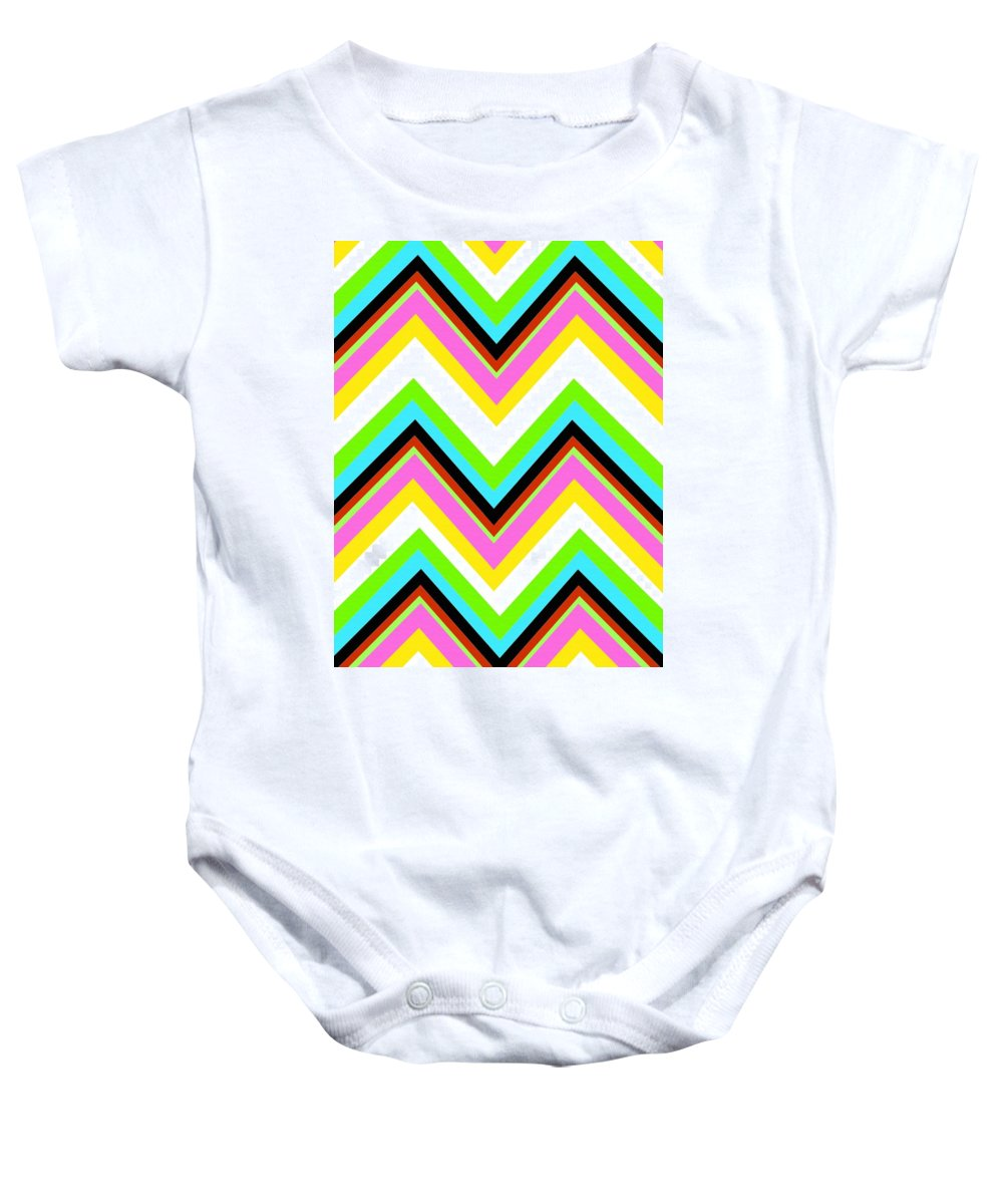 Stripe (digital) By Louisa Knight (contemporary Artist) Baby Onesie featuring the digital art Stripe by Louisa Knight
