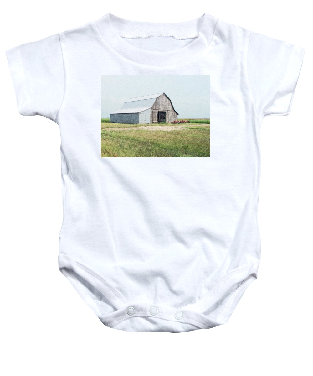 Arcitecture Baby Onesie featuring the digital art Summer Barn by Debbie Portwood