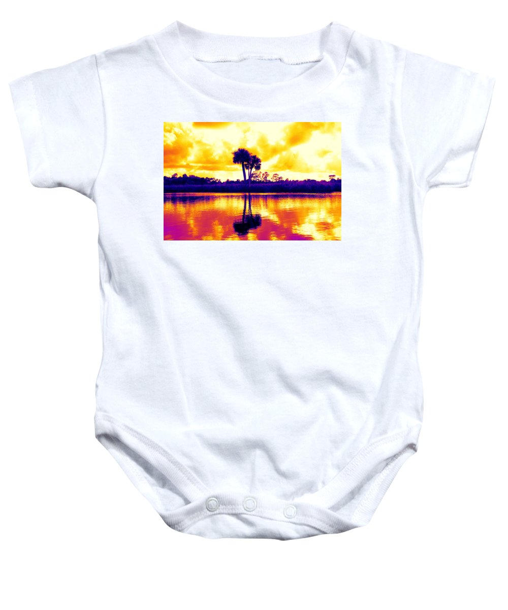 Palms Colorful Sunset Water Scenic Baby Onesie featuring the photograph Sunset Colour by Alice Gipson