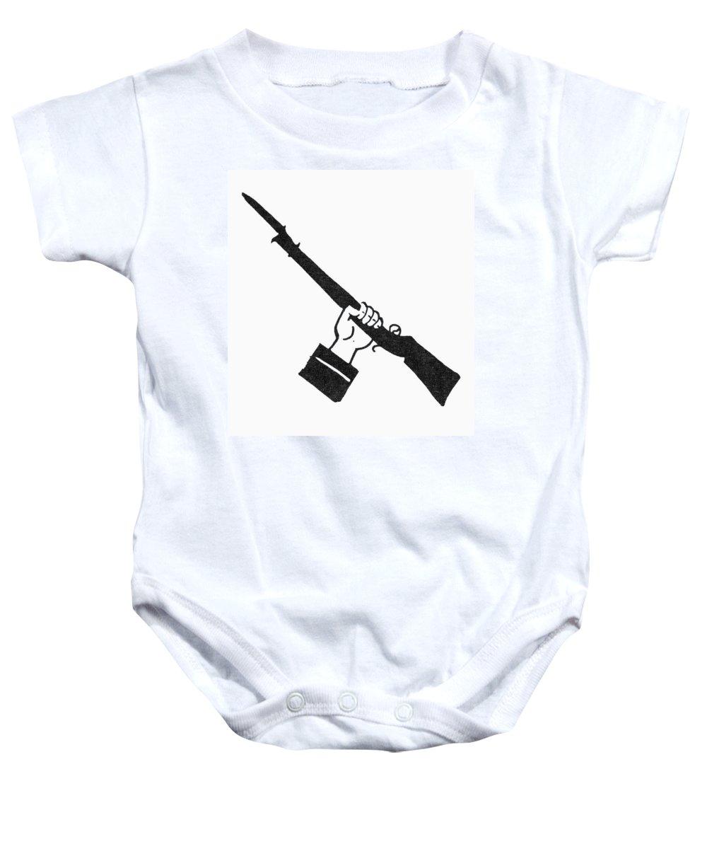 Bayonet Baby Onesie featuring the photograph Symbol: Raised Gun by Granger
