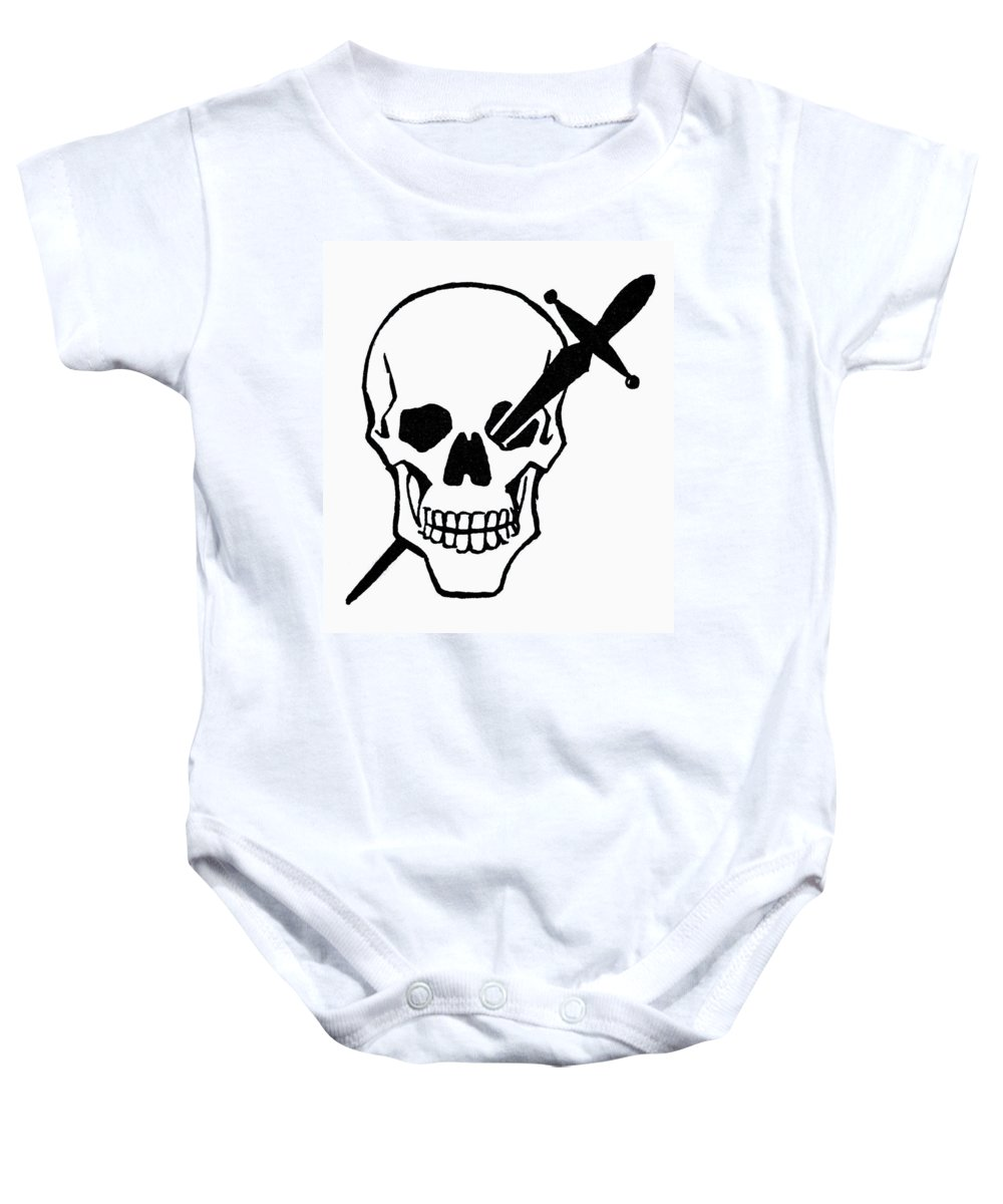 Dagger Baby Onesie featuring the photograph Symbol: Skull & Dagger by Granger