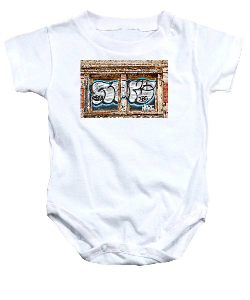 Window Baby Onesie featuring the photograph Tagged Window by Christopher Holmes