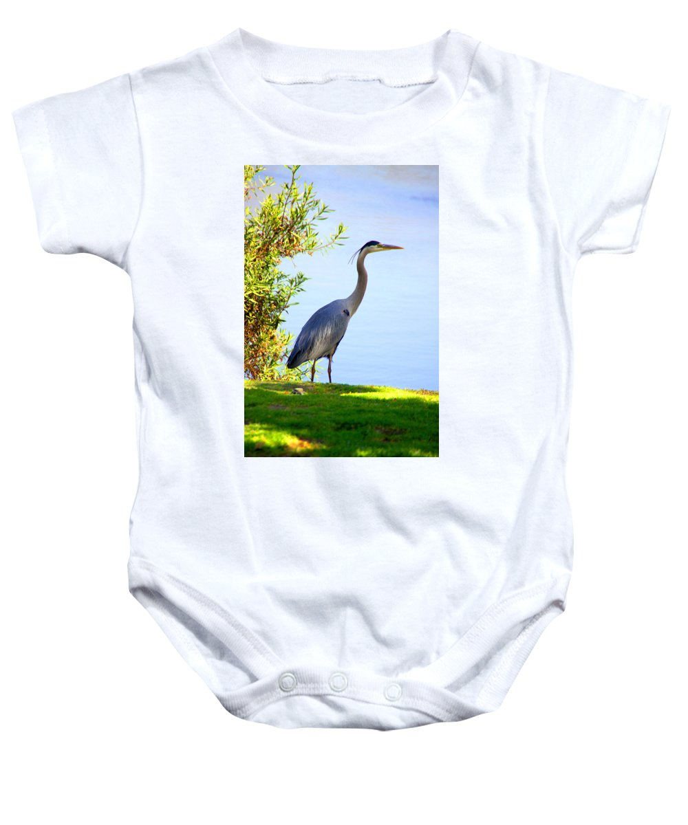 Heron Baby Onesie featuring the photograph Tall Grey Heron by Diana Haronis