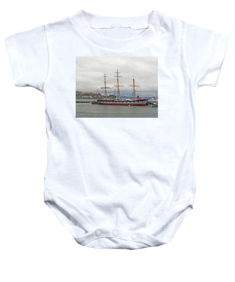 The Balclutha Ship And Alcatraz Island Baby Onesie featuring the photograph The Balclutha Ship And Alcatraz Island by Bill Owen
