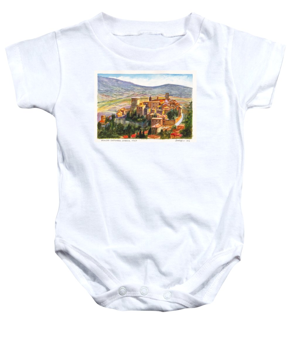 Italy Baby Onesie featuring the painting The Fortified Walled Village Of Gualdo Cattaneo Umbria Italy by Dai Wynn
