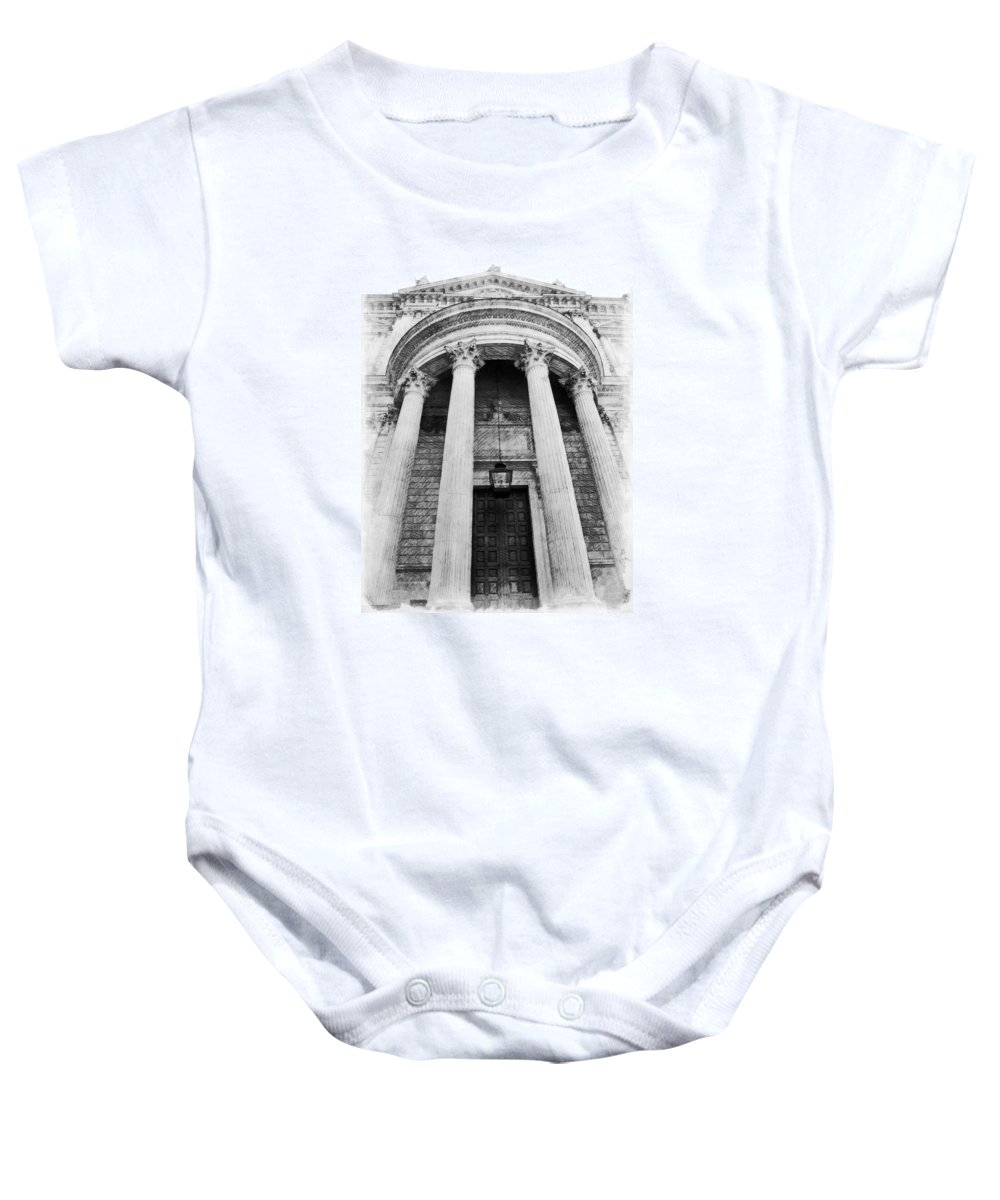 Black And White Baby Onesie featuring the photograph The Front Of St Paul's Cathedral by Steve Taylor