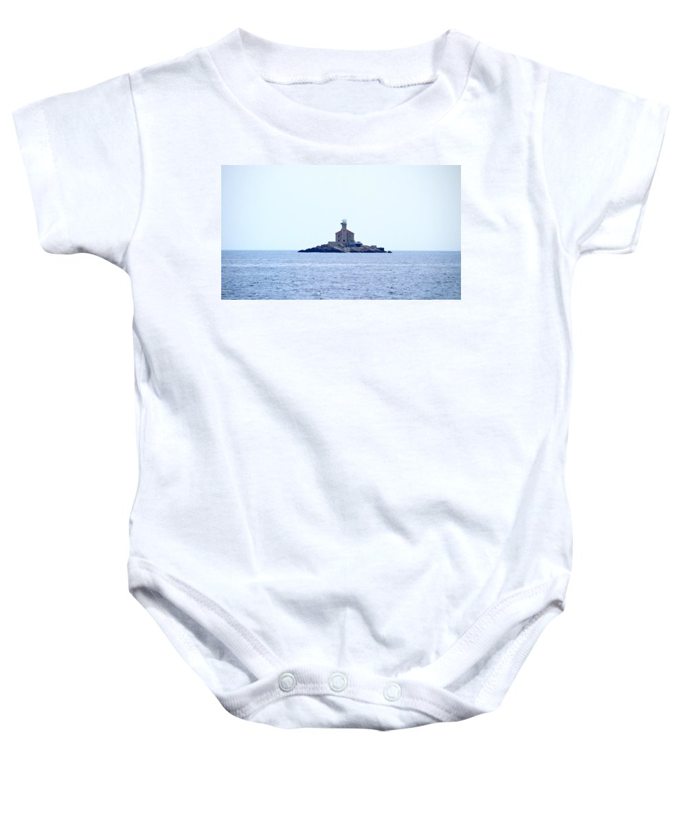 2012 Baby Onesie featuring the photograph The Lighthouse Close To Primosten by Jouko Lehto