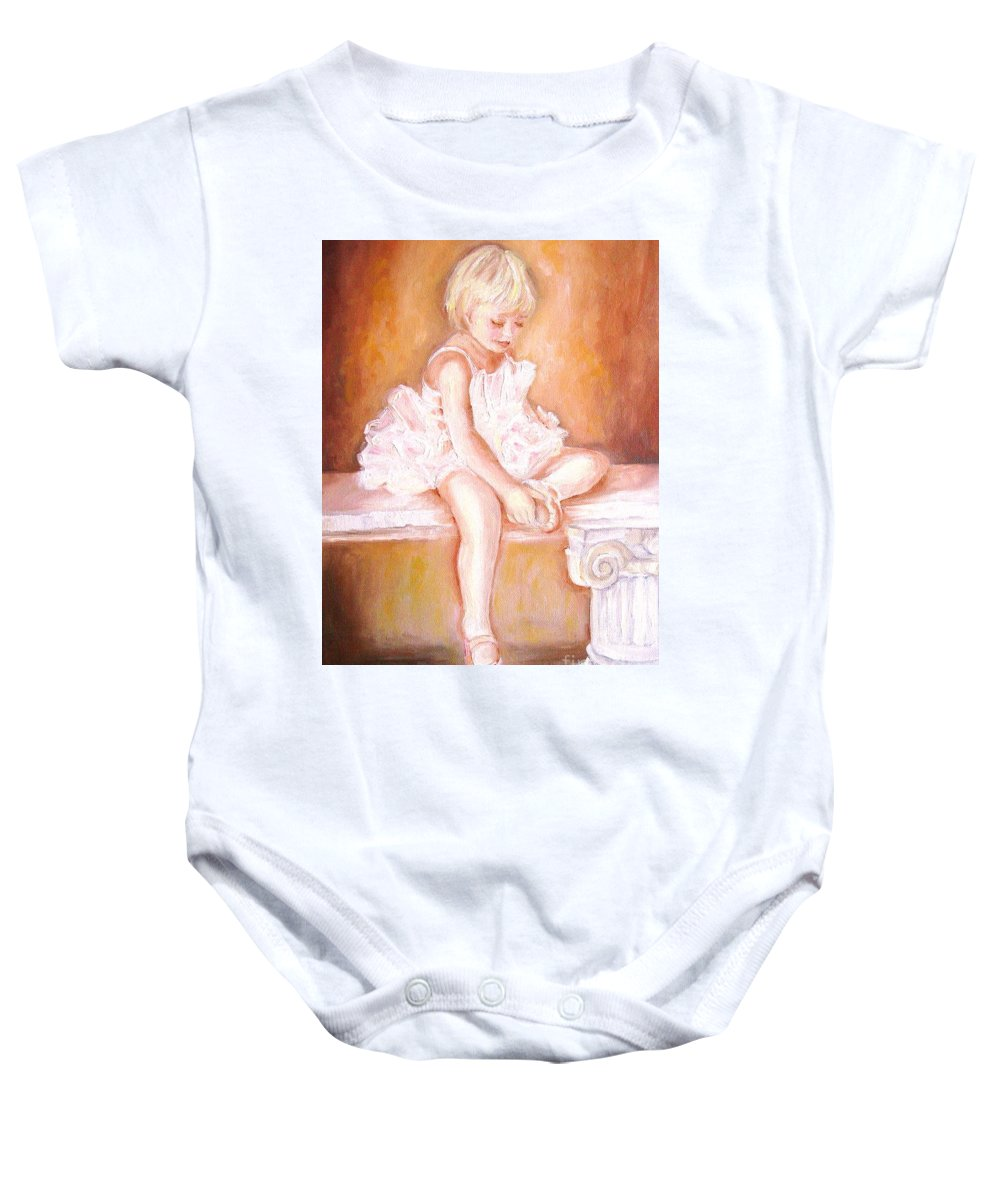 Ballerinas Baby Onesie featuring the painting The Little Ballerina by Carole Spandau