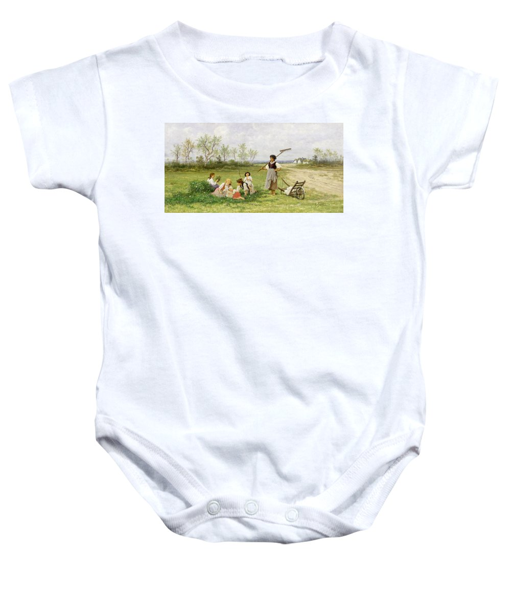 The Midday Rest Baby Onesie featuring the painting The Midday Rest by Franciszek Streitt