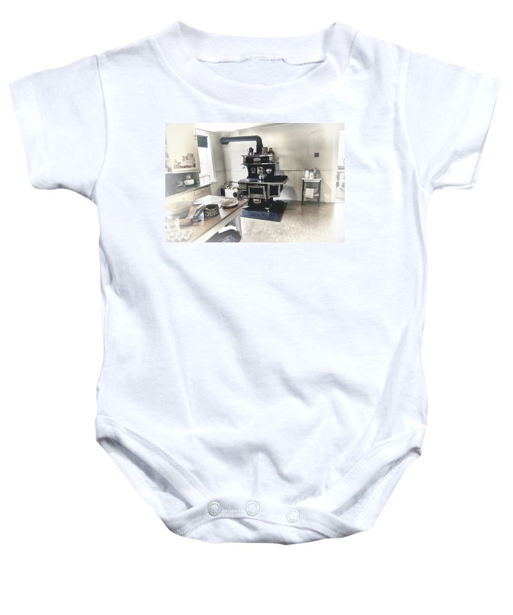 Kitchen Baby Onesie featuring the digital art The Old Kitchen by Diane Dugas