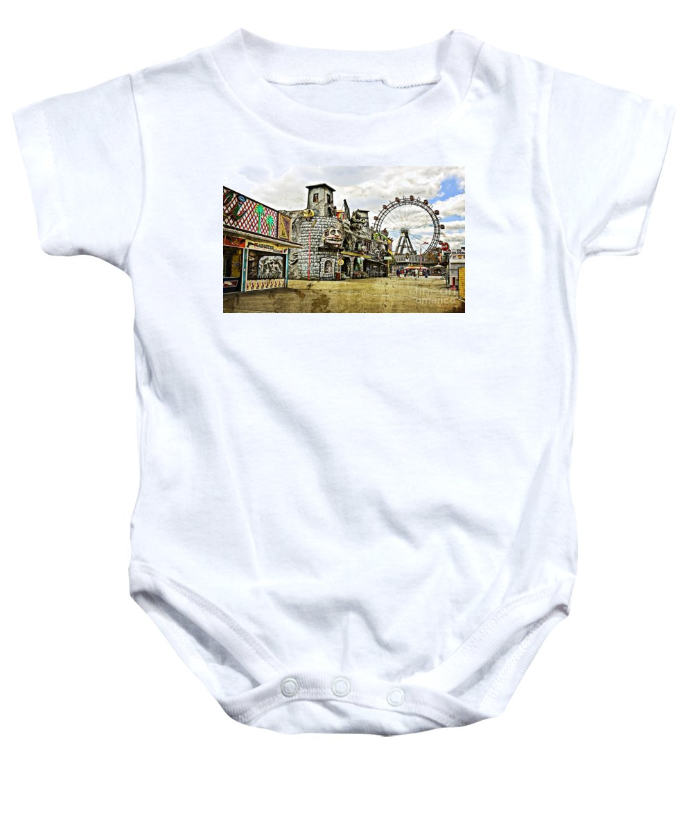 Ferris Wheel Baby Onesie featuring the photograph The Prater - Vienna by Madeline Ellis