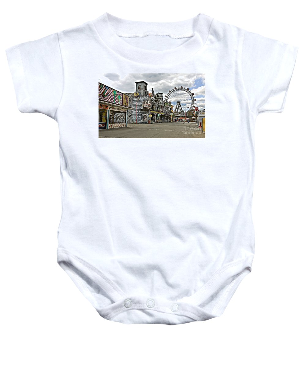 Ferris Wheel Baby Onesie featuring the photograph The Prater In Vienna by Madeline Ellis