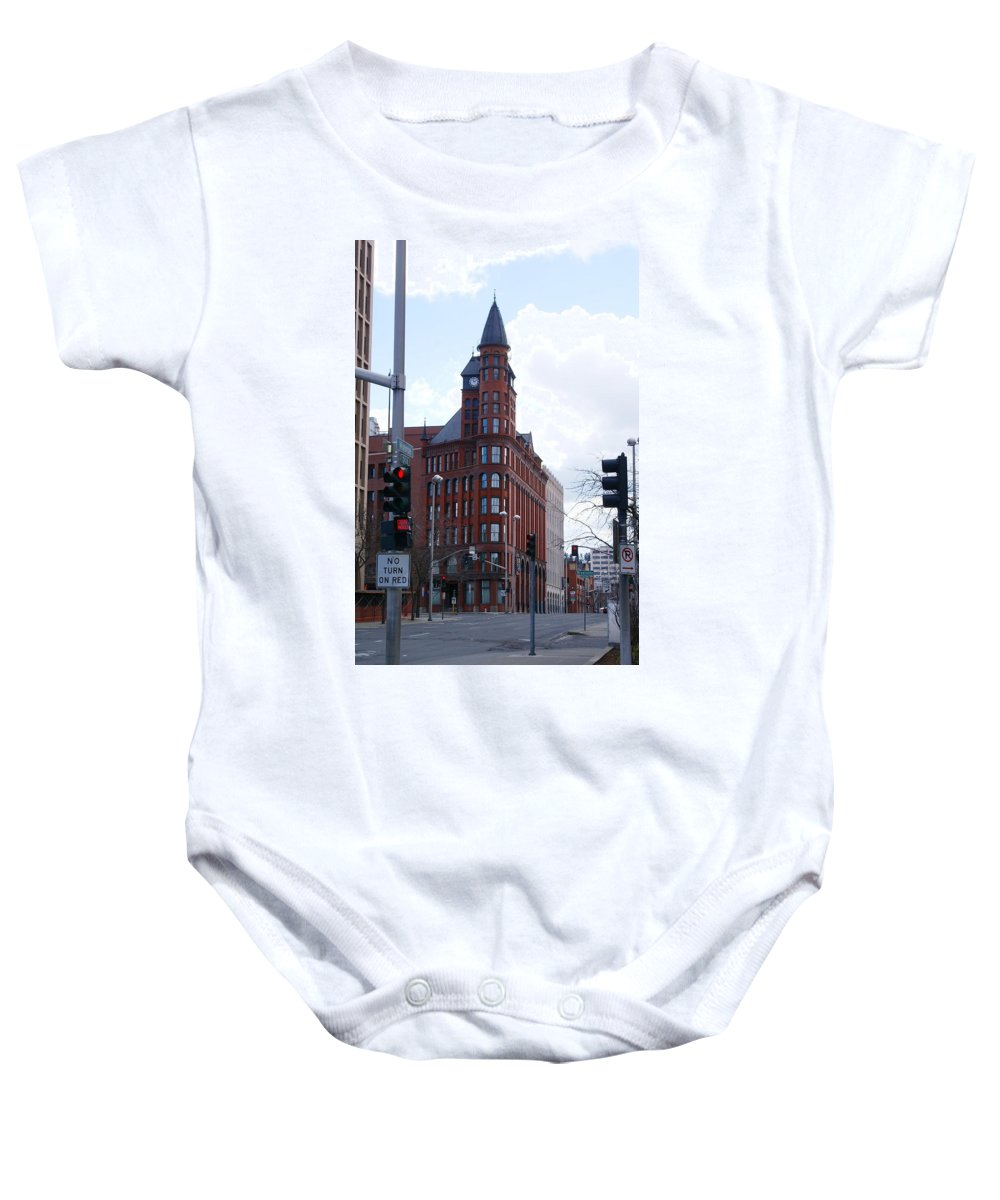 Spokane Baby Onesie featuring the photograph The Review Building 2 by Ben Upham III