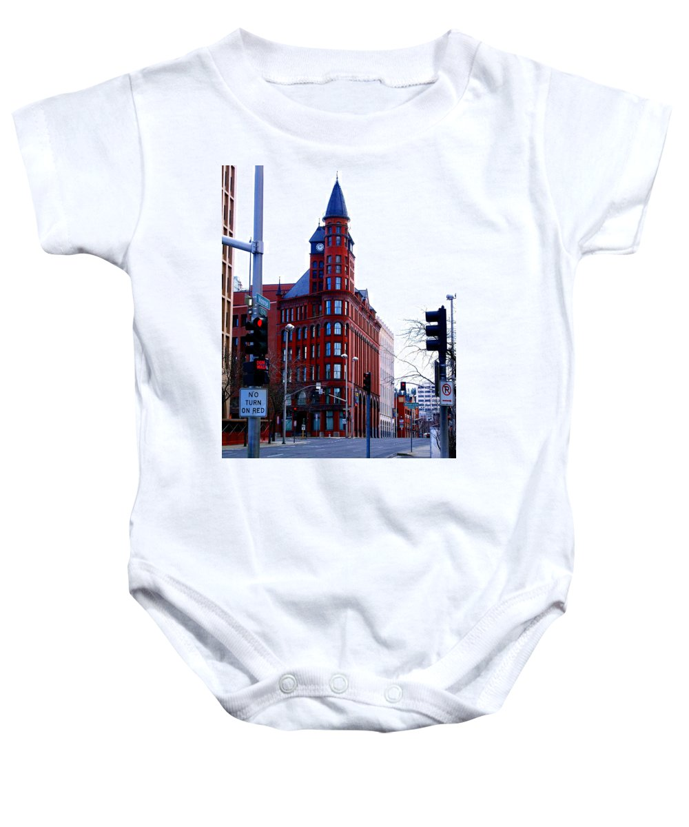 Spokane Baby Onesie featuring the photograph The Review Building by Ben Upham III