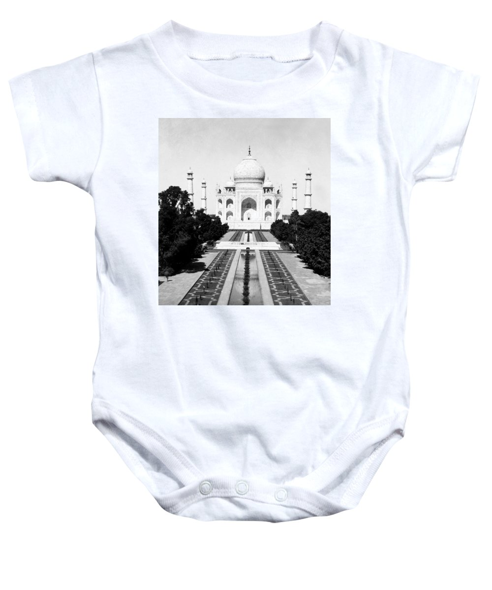 taj Mahal Baby Onesie featuring the photograph The Taj Mahal In Agra India - C 1906 by International Images