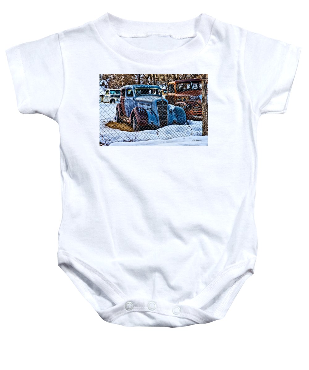 Cars Baby Onesie featuring the photograph The Winter Of Existence by Christopher Holmes