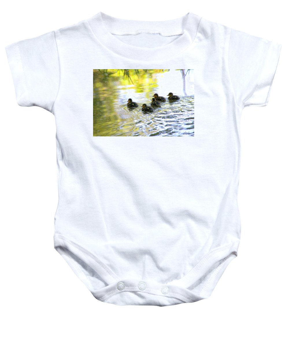 Baby Baby Onesie featuring the photograph Tiny Baby Ducks by Diana Haronis