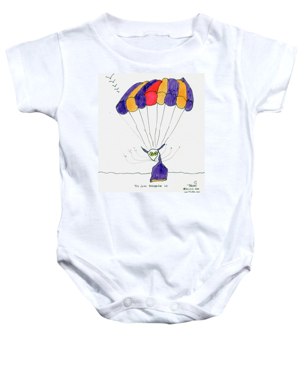 Purple Baby Onesie featuring the painting Tis Just Dropping In by Tis Art