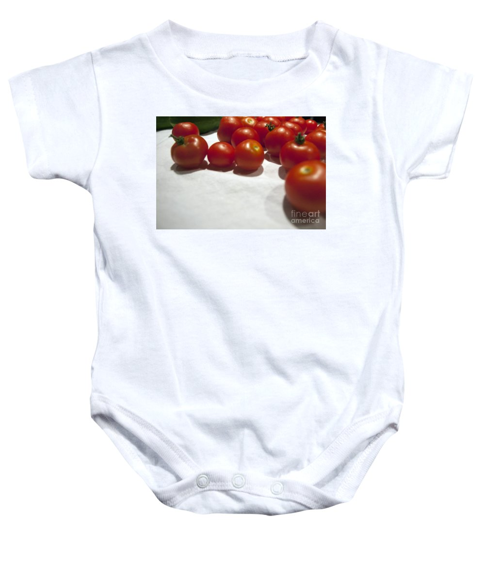 Background Baby Onesie featuring the photograph Tomato And Cucumber 1 by Alan Look