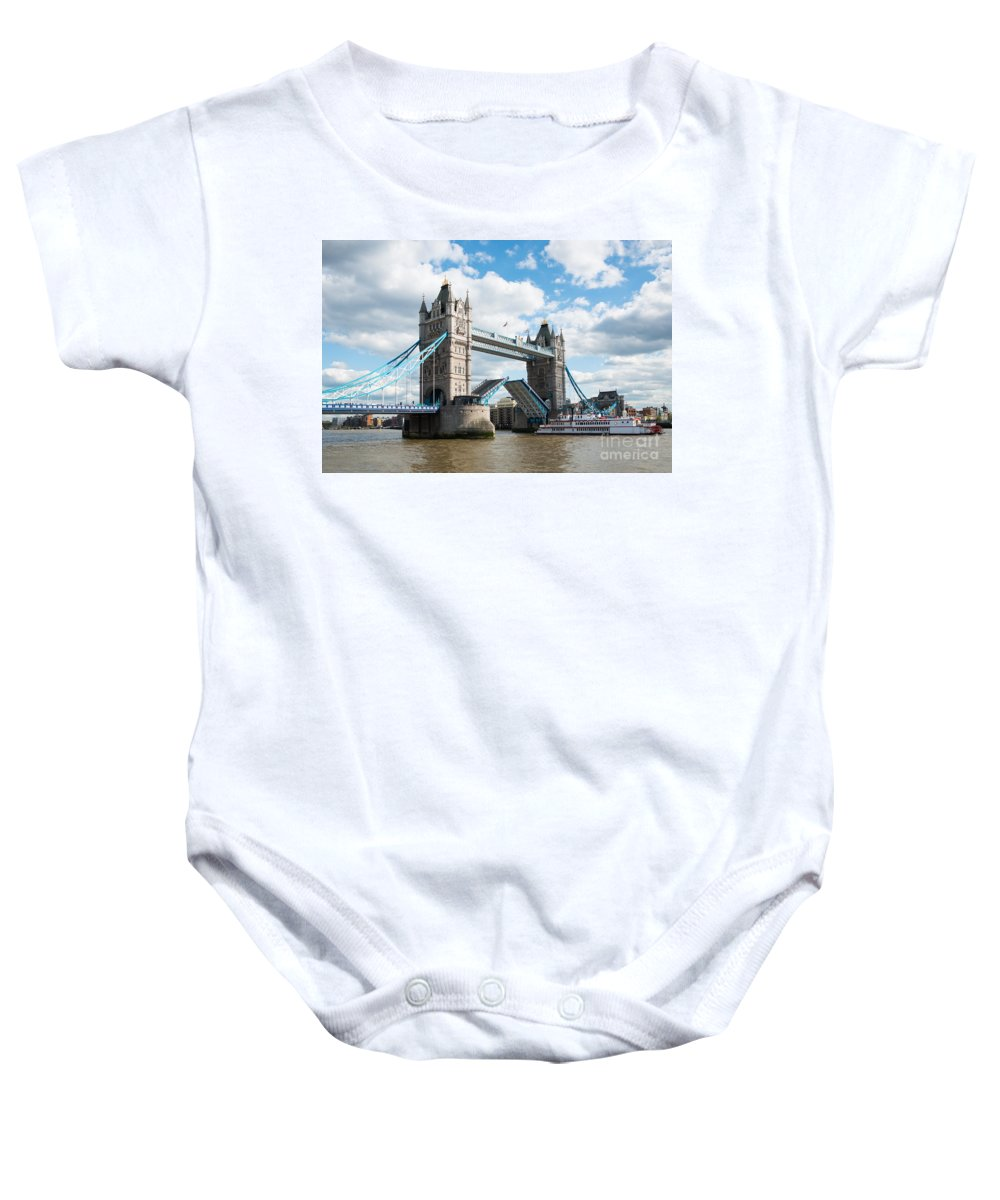 British Baby Onesie featuring the photograph Tower Bridge Opening by Andrew Michael