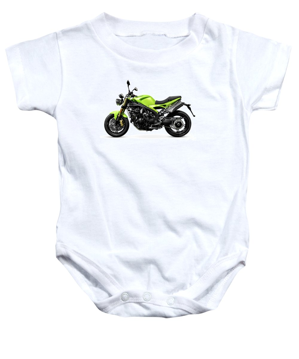Motorcycle Baby Onesie featuring the photograph Triumph Speed Triple Motorcycle by Oleksiy Maksymenko