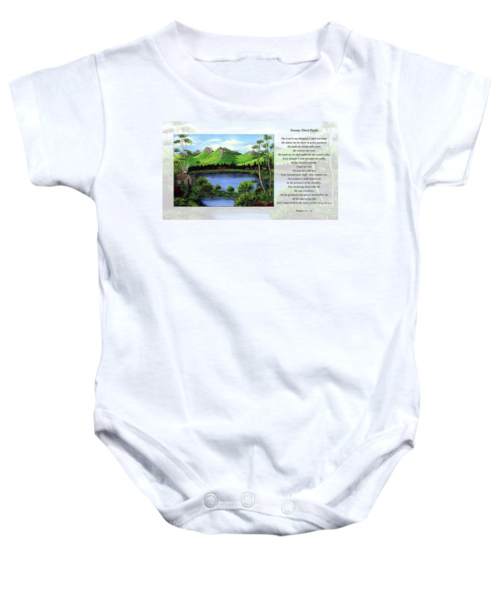 Twenty Third Psalm Baby Onesie featuring the painting Twin Ponds And 23 Psalm On White by Barbara Griffin