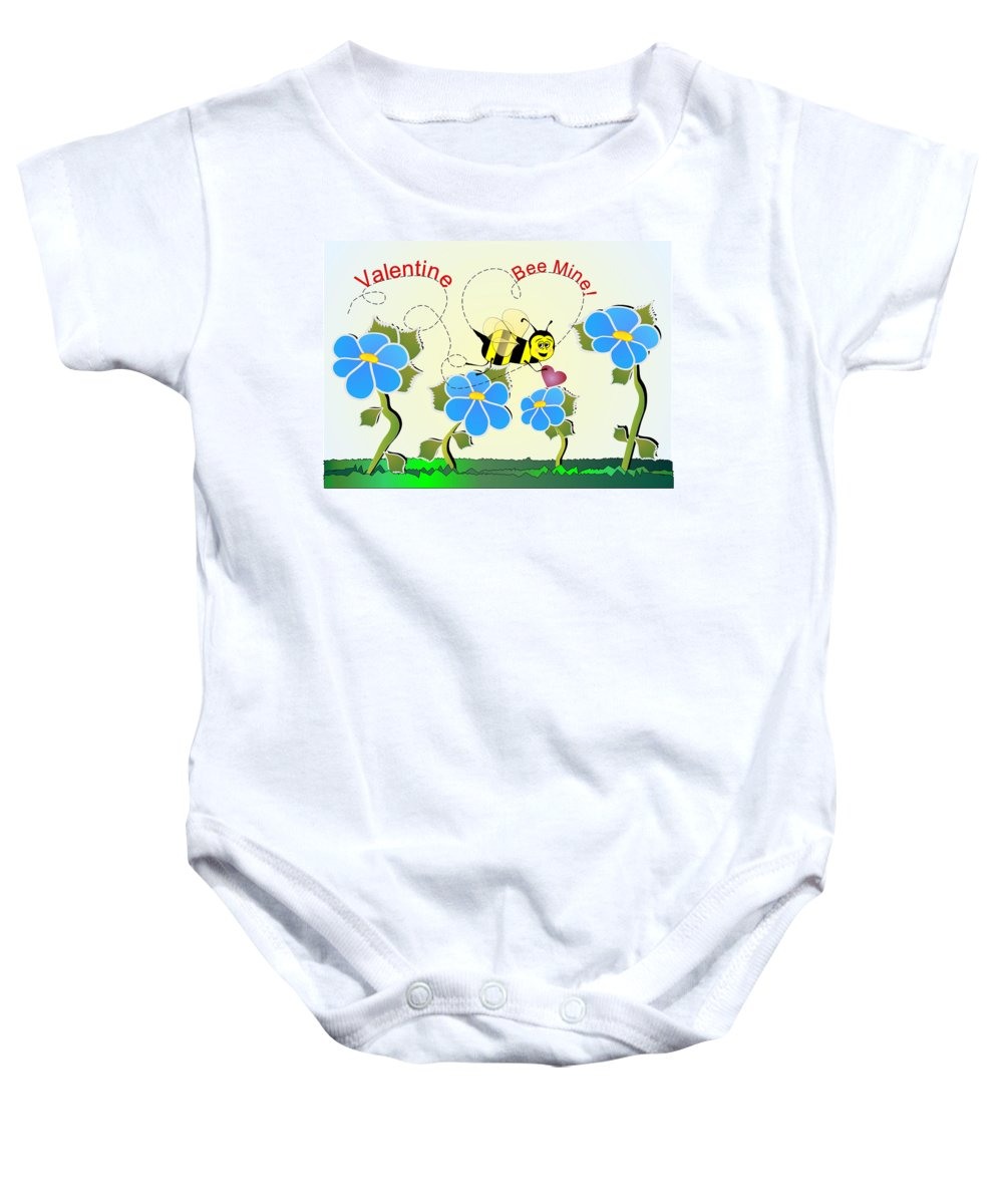 Valentines Baby Onesie featuring the digital art Valentine Bee Mine by Susan Kinney