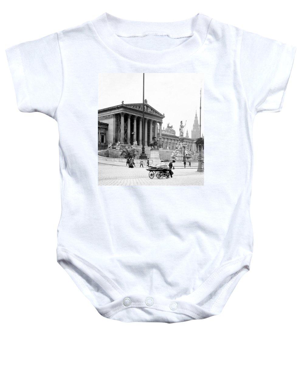 vienna Austria Baby Onesie featuring the photograph Vienna Austria - Parliament Building - C 1926 by International Images