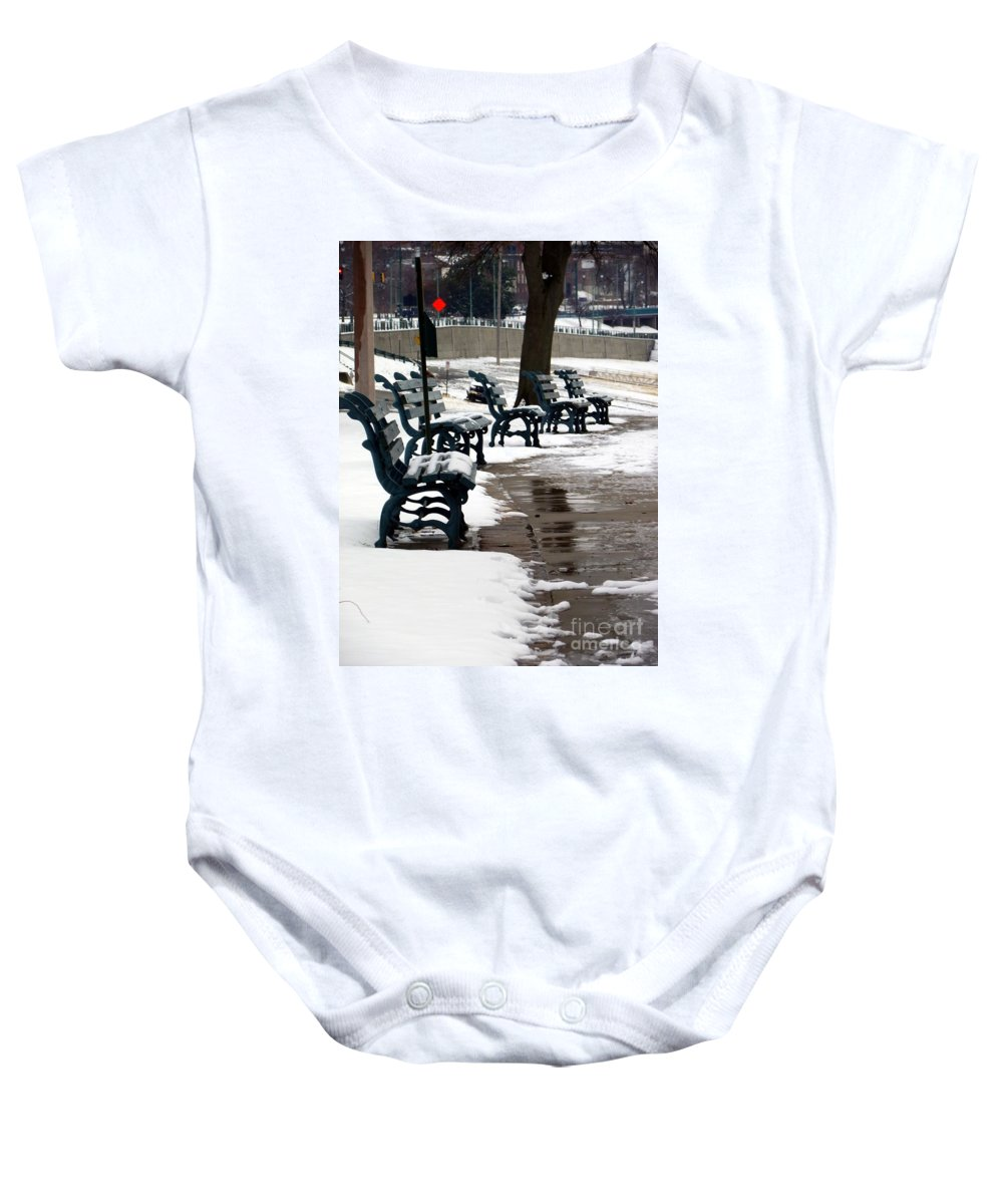 Outside Baby Onesie featuring the photograph Waiting For Clear Skies by Charleen Treasures