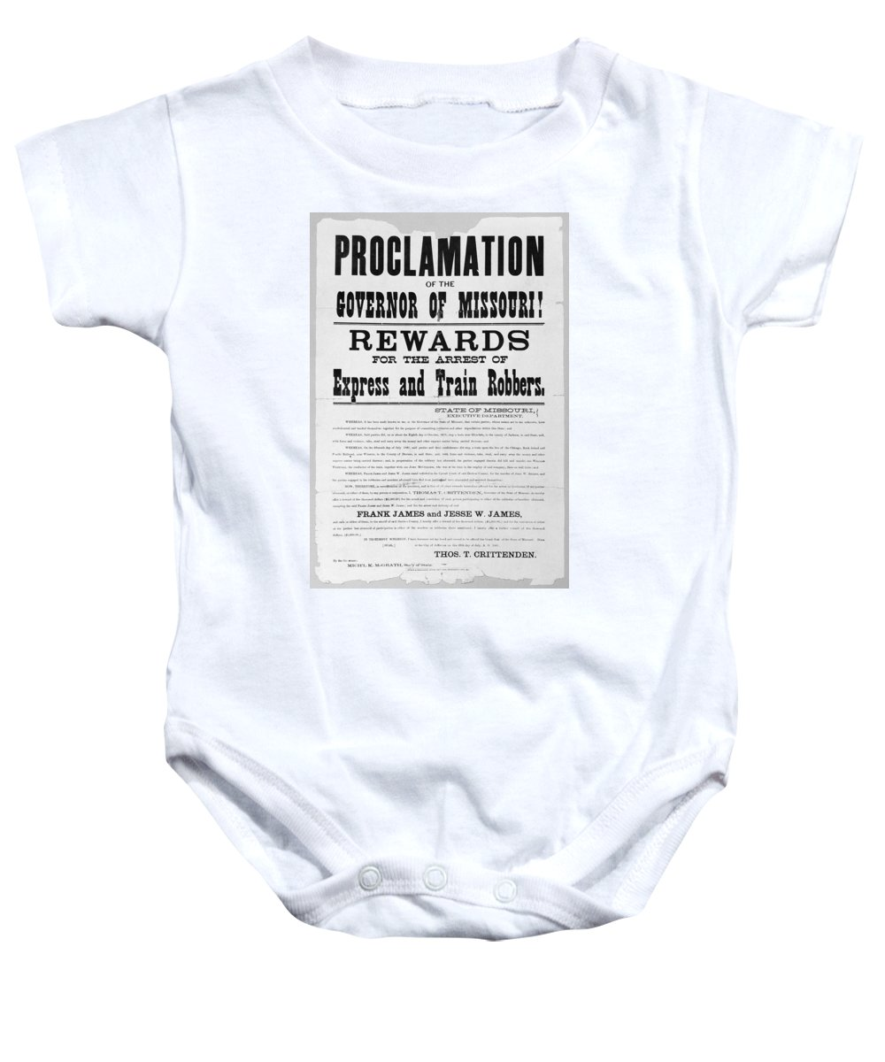 1881 Baby Onesie featuring the photograph Wanted Poster, 1881 by Granger