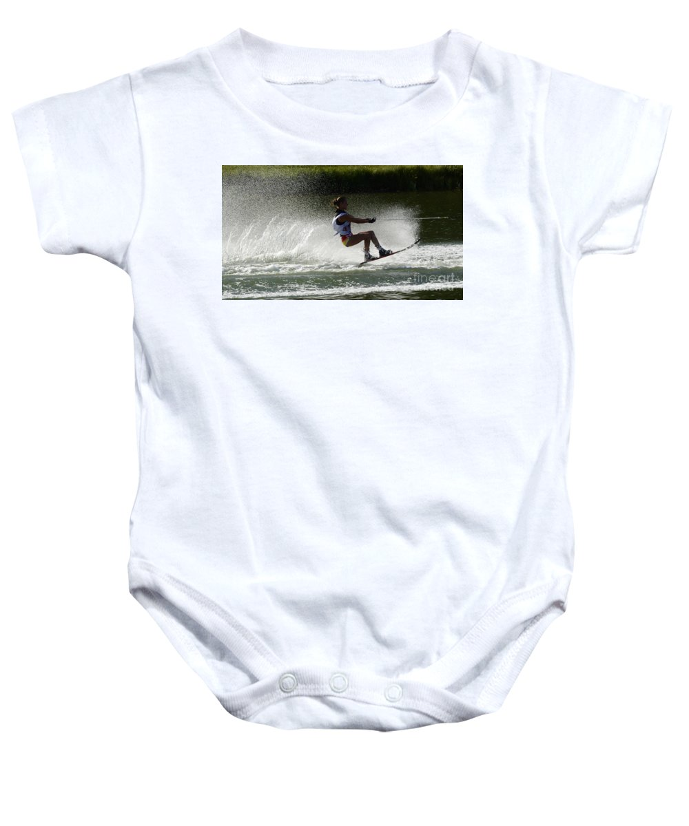 Water Skiing Baby Onesie featuring the photograph Water Skiing Magic Of Water 16 by Bob Christopher