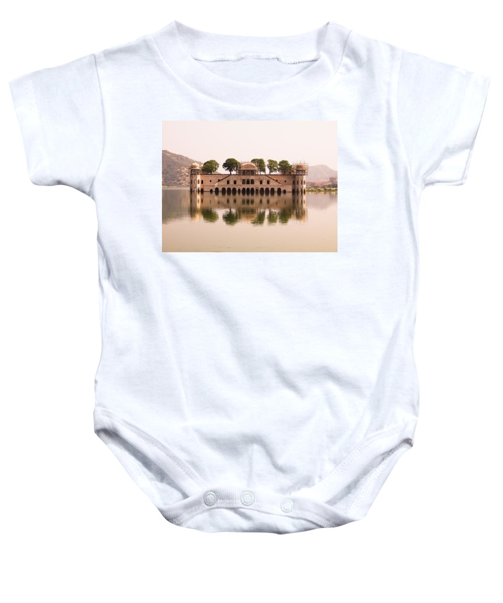 Architectural Exterior Baby Onesie featuring the photograph Waterfront Building, Jaipur, India by Keith Levit