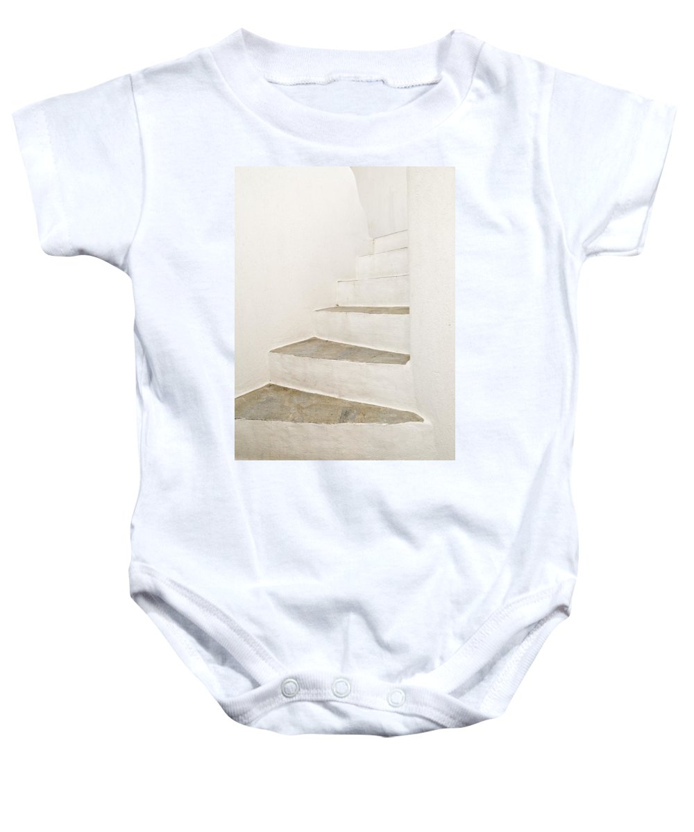 Architectural Detail Baby Onesie featuring the photograph White Stairs by Keith Levit